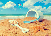 Bucket And Spade On Beach Print by Christopher and Amanda Elwell