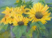 Sunflower Studio Art Framed Prints - Bucket of Sunflowers Colorful Original Painting Sunflowers Sunflower Art K. Joann Russell Artist Framed Print by K Joann Russell