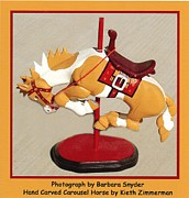 Wood Sculpture Posters - Bucking Bronco Carousel Horse Poster by Barbara Snyder and Keith Zimmerman