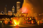 Fountain Photograph Posters - Buckingham Fountain Poster by Andrew Soundarajan