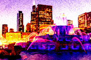 Chicago Digital Art Posters - Buckingham Fountain at Night Digital Painting Poster by Paul Velgos