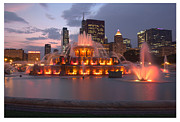 Lake Shore Drive Posters - Buckingham Fountain framed Poster by David Bearden