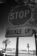 Stop Sign Photos - buckle up sign below stop sign in Las Vegas Nevada USA by Joe Fox