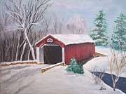 Snow-covered Landscape Originals - Bucks County Covered Bridge by Lucia Grilletto