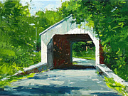 Landscap Painting Originals - Bucks County Covered Bridge by Will Harmuth