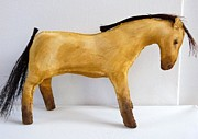 Sculpture Tapestries - Textiles - Buckskin horse doll by Lucy Deane