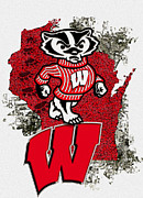 Bucky Badger University Of Wisconsin Print by Jack Zulli