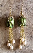 Gold Earrings Mixed Media - Bud Earrings by Jan  Brieger-Scranton