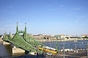 Tram Prints - Budapest Cityscape and Liberty Bridge Print by Artur Bogacki