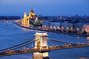 Blue Danube Posters - Budapest Cityscape at Night Poster by Artur Bogacki