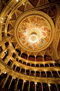 Frescoes Prints - Budapest Opera House Auditorium and Ceiling Print by Artur Bogacki