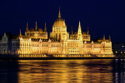 Architectural Style Prints - Budapest Parliament at Night Print by Artur Bogacki