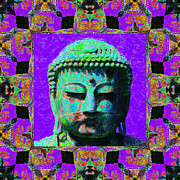 Japanese People Digital Art Posters - Buddha Abstract Window 20130130m28 Poster by Wingsdomain Art and Photography