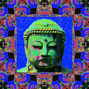 Japanese People Digital Art Posters - Buddha Abstract Window 20130130m68 Poster by Wingsdomain Art and Photography