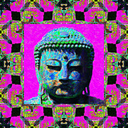 Japanese People Digital Art Posters - Buddha Abstract Window 20130130p0 Poster by Wingsdomain Art and Photography