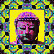 Japanese People Digital Art Posters - Buddha Abstract Window 20130130p120 Poster by Wingsdomain Art and Photography