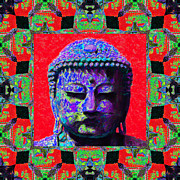 Japanese People Digital Art Posters - Buddha Abstract Window 20130130p55 Poster by Wingsdomain Art and Photography