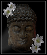 The Buddha Metal Prints - BUDDHA adorned with ASIAN LILIES Metal Print by Daniel Hagerman