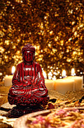 Buddha Photo Metal Prints - Buddha and Candles Metal Print by Olivier Le Queinec