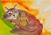 Mother Earth Paintings - Buddha and Divine Cat by Ilisa  Millermoon