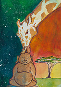 Ink Paintings - Buddha and Divine Giraffe by Ilisa  Millermoon