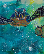 Ocean Turtle Painting Originals - Buddha and Divine Sea Turtle by Ilisa  Millermoon