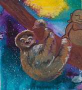 Buddha Artwork Prints - Buddha and Divine Sloth Print by Ilisa  Millermoon