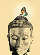 Buddha Digital Art Posters - Buddha and Tranquility Poster by Budi Satria Kwan