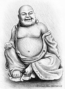 Relaxing Drawings Posters - Buddha Buddy Poster by Andrew Read