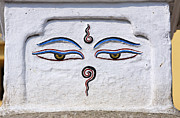 Religious Art Photos - Buddha eyes on a stupa in Kathmandu Nepal by Robert Preston