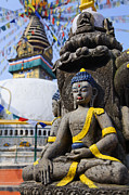 Religious Art Photo Metal Prints - Buddha Figure at the Kathe Simbhu Stupa Metal Print by Robert Preston