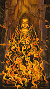 Tibet Painting Framed Prints - Buddha. Fire of meditation Framed Print by Vrindavan Das