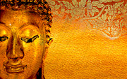 Believe Digital Art Originals - Buddha gold statue on golden background . by Pitsanu Kraichana