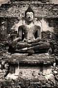 Buddha Artwork Prints - Buddha in Meditation Statue Print by Artur Bogacki