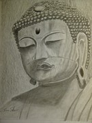 Religious Drawings Metal Prints - Buddha Metal Print by Irving Starr
