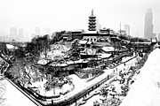 Haze Prints - Buddha - Jiming Temple in the Snow - Black-and-White version  Print by Dean Harte