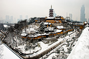 Haze Photo Prints - Buddha - Jiming Temple in the Snow - colour version  Print by Dean Harte