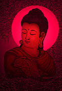 God Glass Art Posters - Buddha  Poster by Loganathan E