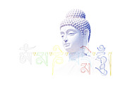 Meditating Prints - Buddha Mantra  Print by Tim Gainey