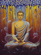 Ahimsa Paintings - Buddha meditation by Yuliya Glavnaya
