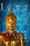 Lithograph Digital Art Framed Prints - Buddha Message 3 Framed Print by M Gilmore