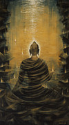 Lotus Art Prints - Buddha. Nirvana ocean Print by Vrindavan Das