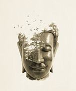 "\\\\\\\""photo-manipulation\\\\\\\\\\\\\\\"" Digital Art Framed Prints - Buddha non attachment Framed Print by Budi Satria Kwan"