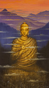Tibet Painting Prints - Buddha. Passing clouds Print by Vrindavan Das