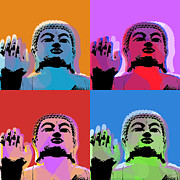 Siddharta Digital Art Framed Prints - Buddha Pop Art - 4 panels Framed Print by Jean luc Comperat