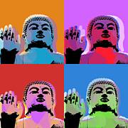 Buddha Pop Art - 4 Panels Print by Jean luc Comperat