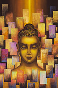 Tibetan Art Paintings - Buddha. Rainbow body by Yuliya Glavnaya