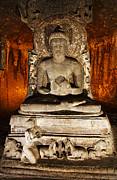 Buddha Statue Prints - Buddha Statue in Ajanta Caves Print by Robert Preston