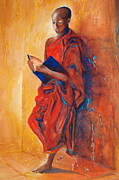 Buddhist Monk Paintings - Buddha Study by Myra Evans
