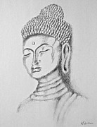 Relaxed. Drawings Prints - Buddha Study Print by Victoria Lakes